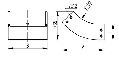 Угол вертикальный, внутренний 45