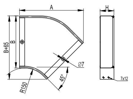 Угол горизонтальный 45 для металлических лотков