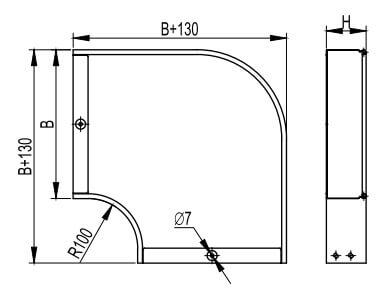 Угол горизонтальный, прямой для металлических лотков
