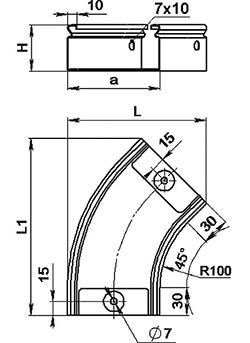 Поворот 45° горизонтальный SCaT H 50 мм